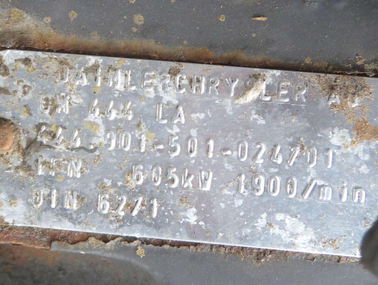 MERCEDES BENZ OM 444 LA V12 cylinder nameplate